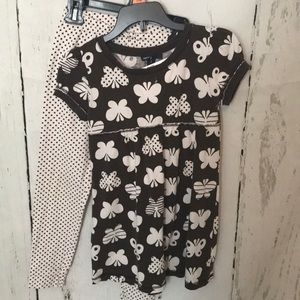 Gap brown butterfly top and dot pants